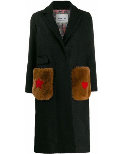 Шерстяное черное пальто классическое Ava Adore
