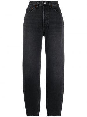 Хлопковые черные брюки узкого кроя на молнии Re/done