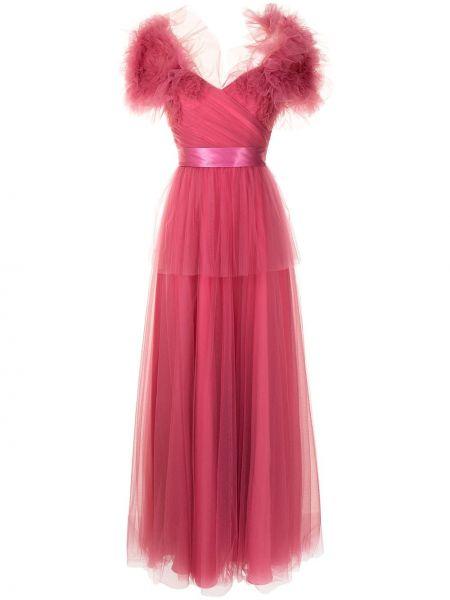 Открытое розовое платье макси из фатина Jenny Packham