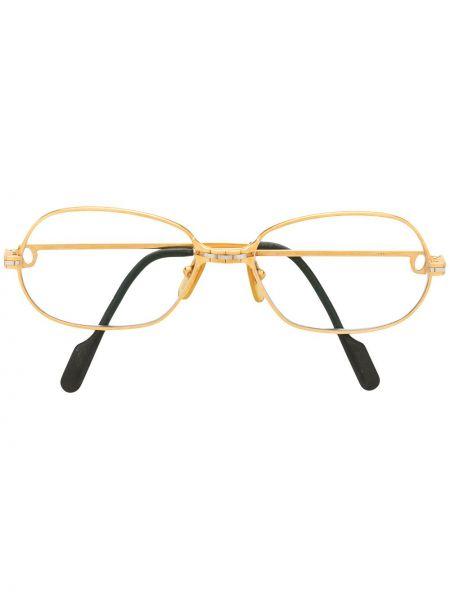 Złote czarne okulary pozłacane Cartier