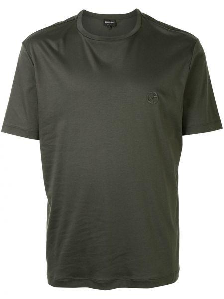 Koszula krótkie z krótkim rękawem z logo z haftem Giorgio Armani