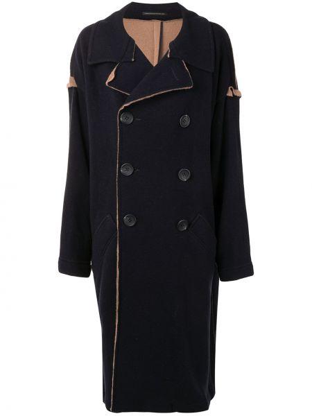 Синее шерстяное длинное пальто двубортное Y's