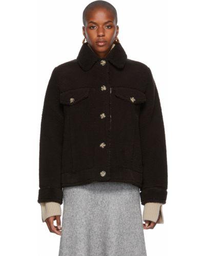 Коричневая куртка с карманами Yves Salomon Meteo