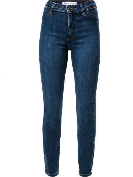 Хлопковые синие укороченные джинсы с карманами на молнии Nobody Denim