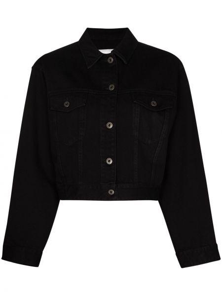 С рукавами черная джинсовая куртка с воротником на пуговицах Valentino