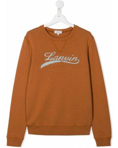 Хлопковый с рукавами тонкий коричневый джемпер Lanvin Enfant