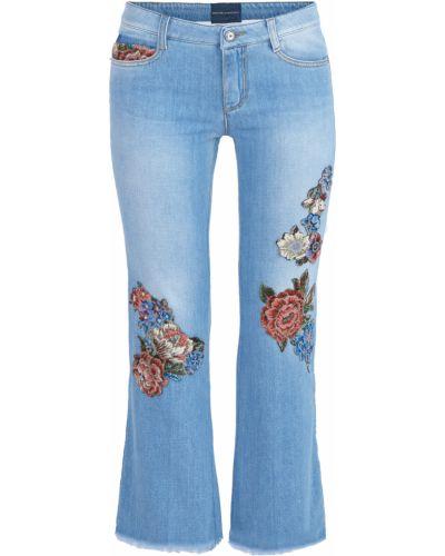 Расклешенные джинсы укороченные с нашивками Ermanno Scervino