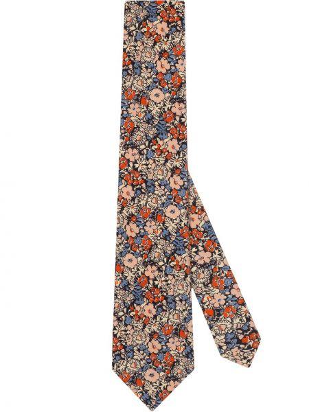 Różowy krawat z jedwabiu z printem Gucci