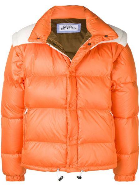Prążkowana pomarańczowa kurtka puchowa Lc23