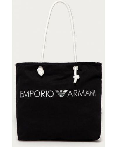 Czarna torebka duża bawełniana z printem Emporio Armani
