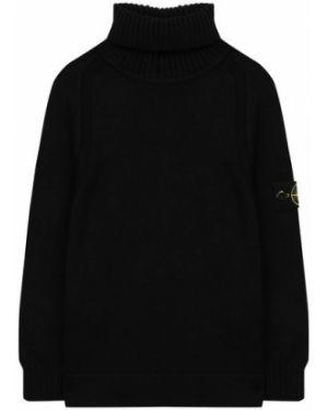 С рукавами черный свитер с воротником из плотной ткани Stone Island