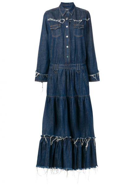 Джинсовое платье макси с бахромой Alanui