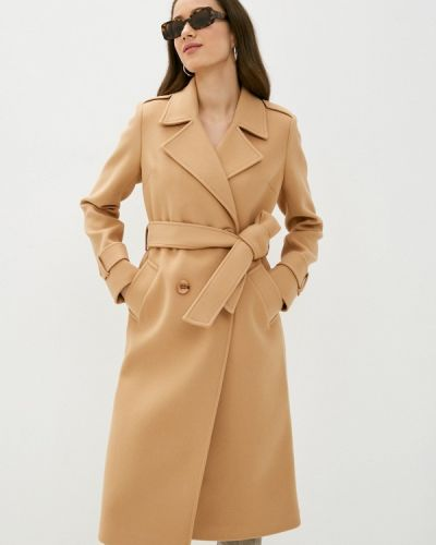 Бежевое пальто двубортное Vittoria Vicci