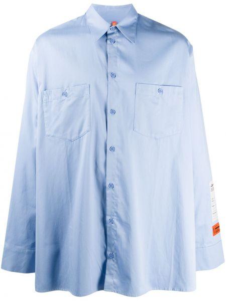 Niebieska klasyczna koszula bawełniana z długimi rękawami Heron Preston