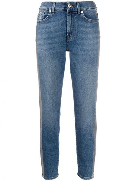 Укороченные джинсы синие на пуговицах 7 For All Mankind