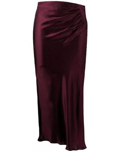 Красная с завышенной талией сатиновая юбка миди Iro