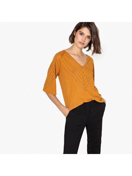 Пуловер с V-образным вырезом длинный La Redoute Collections