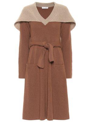 Шерстяное платье миди - коричневое Jw Anderson