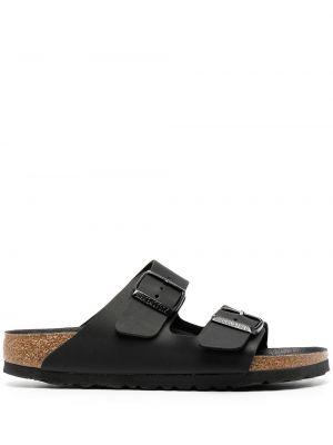 Открытые черные кожаные сандалии Birkenstock