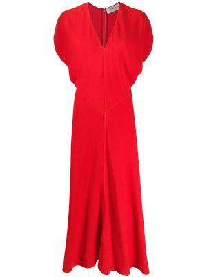 Красное расклешенное платье миди с V-образным вырезом на молнии Victoria Beckham