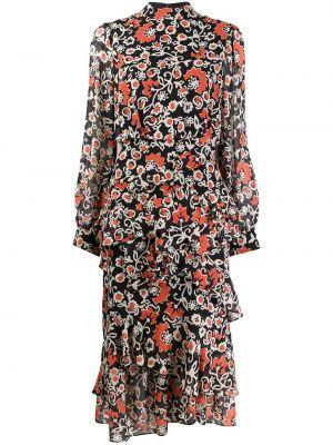 Расклешенное шелковое платье миди на молнии с оборками Saloni