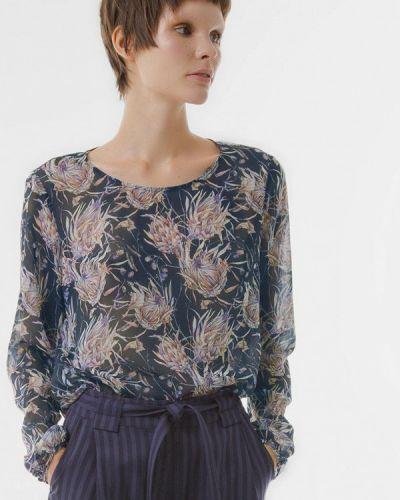 Блузка с длинным рукавом синяя весенний Lo