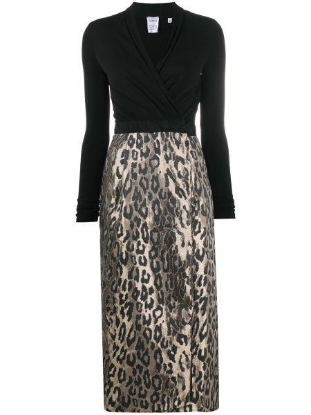 Черное платье с запахом с V-образным вырезом на пуговицах Sara Roka