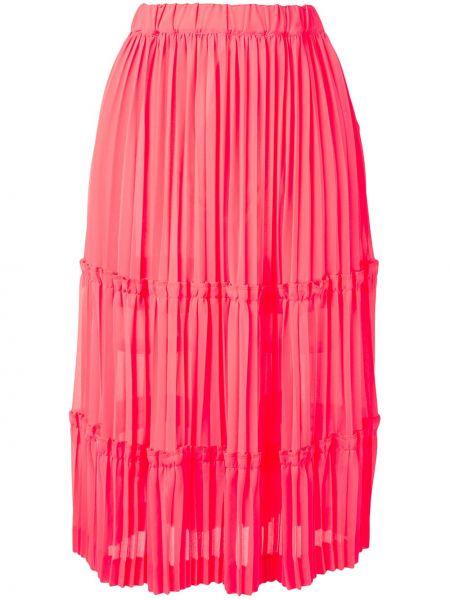 Розовая плиссированная юбка миди с поясом Comme Des Garçons