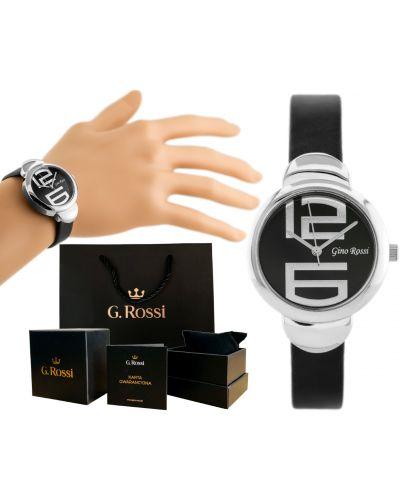 Klasyczny czarny zegarek na skórzanym pasku srebrny Gino Rossi
