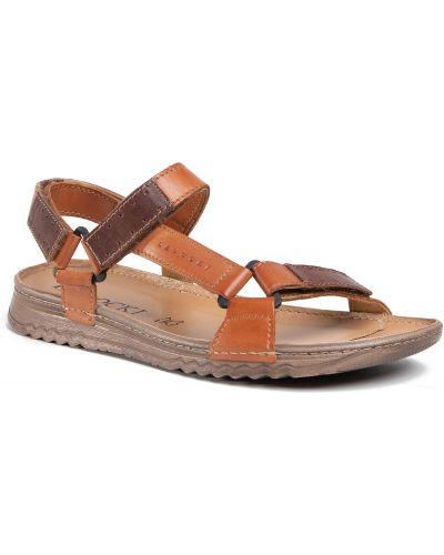 Brązowy skórzany sandały Lasocki For Men