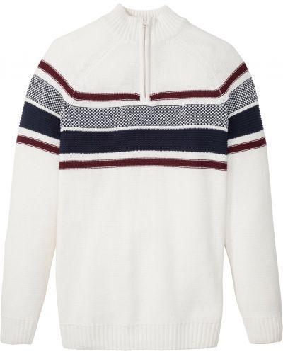 Белый пуловер на молнии с воротником Bonprix