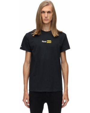 Prążkowany czarny t-shirt bawełniany 1800-paradise