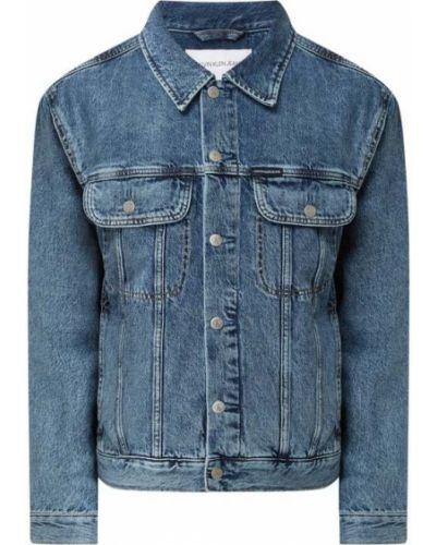 Niebieski bawełna kurtka jeansowa z paskami Calvin Klein Jeans
