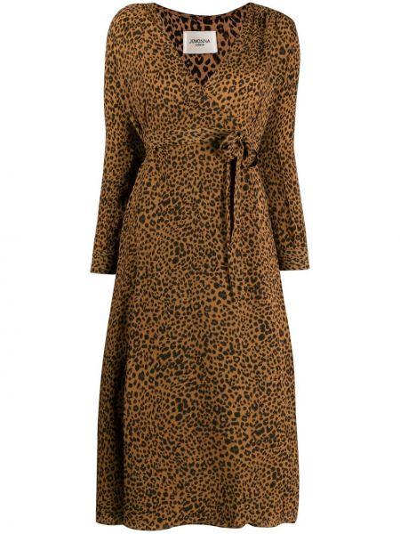 Платье макси с длинными рукавами - коричневое Jovonna