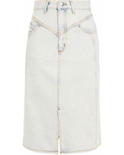 Хлопковая синяя джинсовая юбка с поясом Sandro