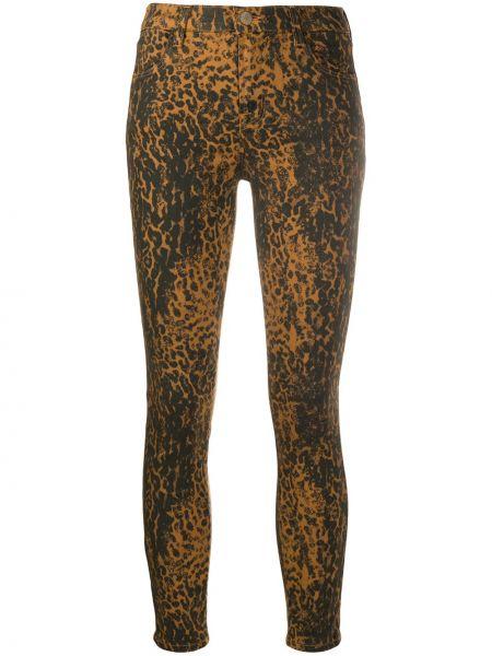 Хлопковые облегающие коричневые джинсы-скинни на пуговицах J Brand