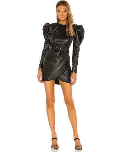 Кожаное черное платье мини с поясом Bronx And Banco