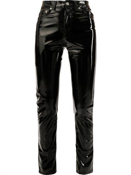 Czarne spodnie z wysokim stanem z paskiem Fiorucci