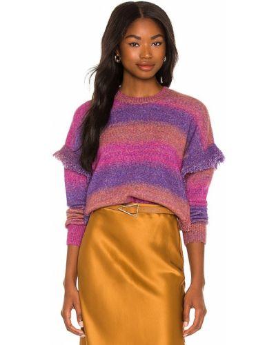 Fioletowy sweter z frędzlami Central Park West