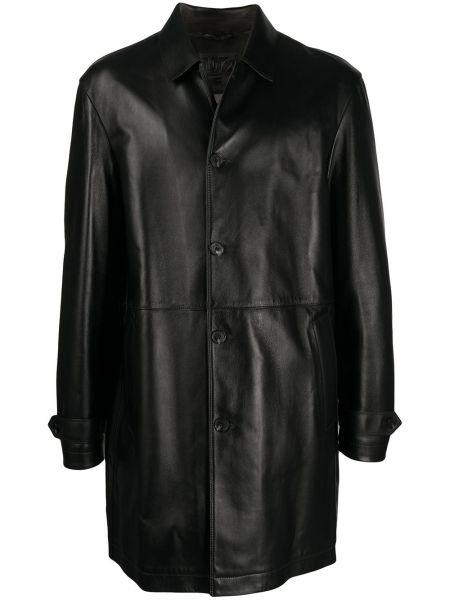 Прямое кожаное черное длинное пальто с воротником Desa 1972