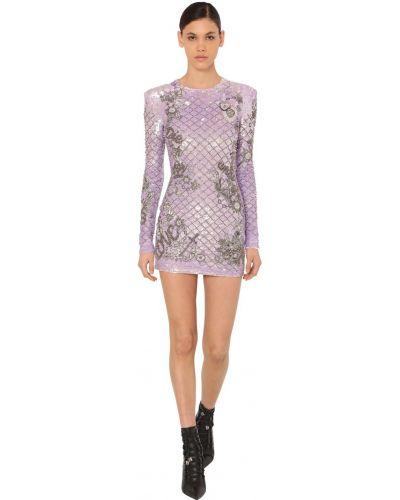 Платье мини с пайетками с бисером Balmain