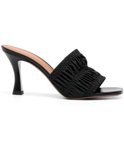 Черные кожаные мюли на каблуке Neous