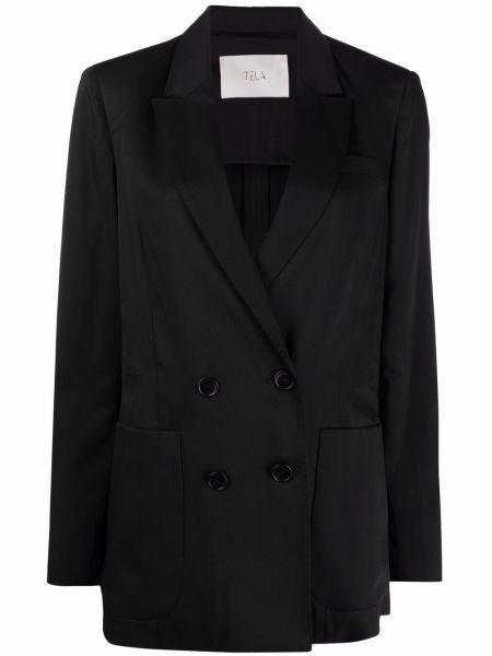 Черный удлиненный пиджак двубортный с накладными карманами Tela