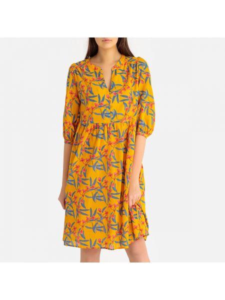 Расклешенное платье миди на пуговицах с рисунком с вырезом Harris Wilson