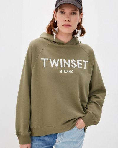 Зимнее худи хаки Twinset Milano