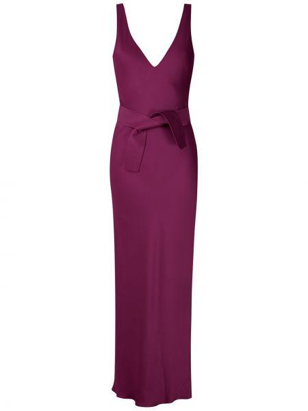 Фиолетовое тонкое вечернее платье с открытой спиной на бретелях Gloria Coelho