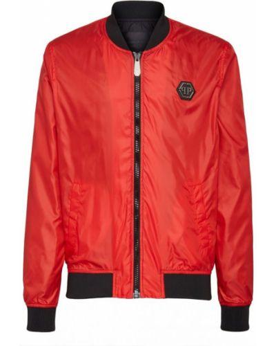 Czerwona długa kurtka z nylonu z długimi rękawami Philipp Plein