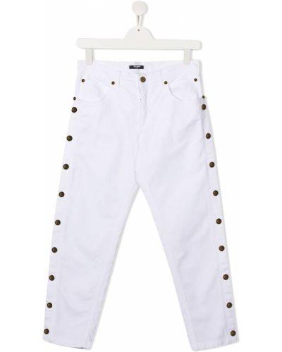 Облегающие белые джинсы-скинни на молнии Balmain Kids