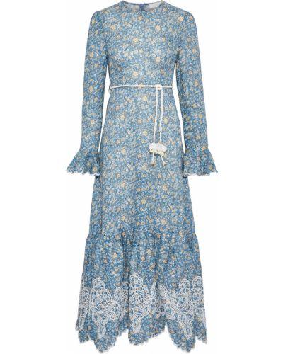 Льняное платье макси - бирюзовое Zimmermann