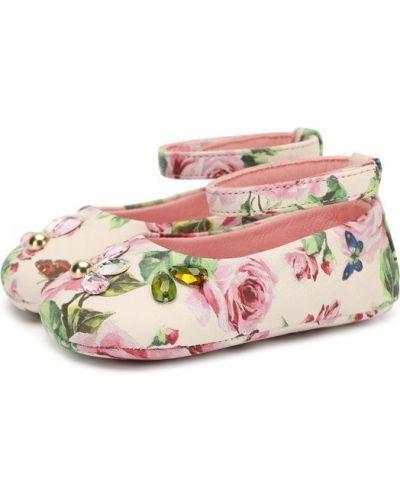 Розовые пинетки кожаные Dolce & Gabbana